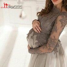 Modest Mutterschaft abendkleid Bateau-ausschnitt Spitze Appliques Lange Sleeve Transparent Reich Bodenlangen Schwangere Abendkleider