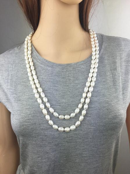 100% Real Pearl Jewelry ,59inches Long Necklace,White Rice Freshwater Pearl Necklace,Women Wedding ,Love,Mothers Day Gift100% Real Pearl Jewelry ,59inches Long Necklace,White Rice Freshwater Pearl Necklace,Women Wedding ,Love,Mothers Day Gift