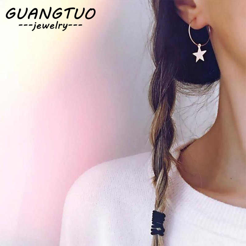 New Fashion Personality Simple Pentagram Hoop Earrings Female Accessories Star Brincos Popular Wholesale Jewelry Gift EB207