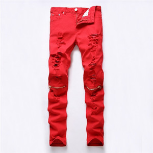 Image 2 - men trousers Man black red white jeans 2018 autumn men Casual Denim Pants Classic Cowboys Young hole zipper jeans Slim trousers