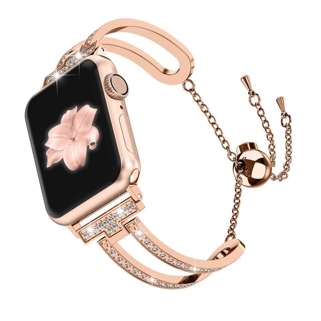 38mm/42mm iWatch Bling Jewelry WatchBand U-Type Dressy Wristband Steel with Rhinestone Bangle Chain Metal Strap For Apple Watch   Watchbands