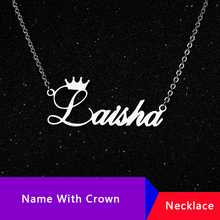 Personalized Name Crown Necklace Handmade Customized Cursive Font Nameplate Pendant Stainless Steel Chain Jewelry Birthday Gifts цена