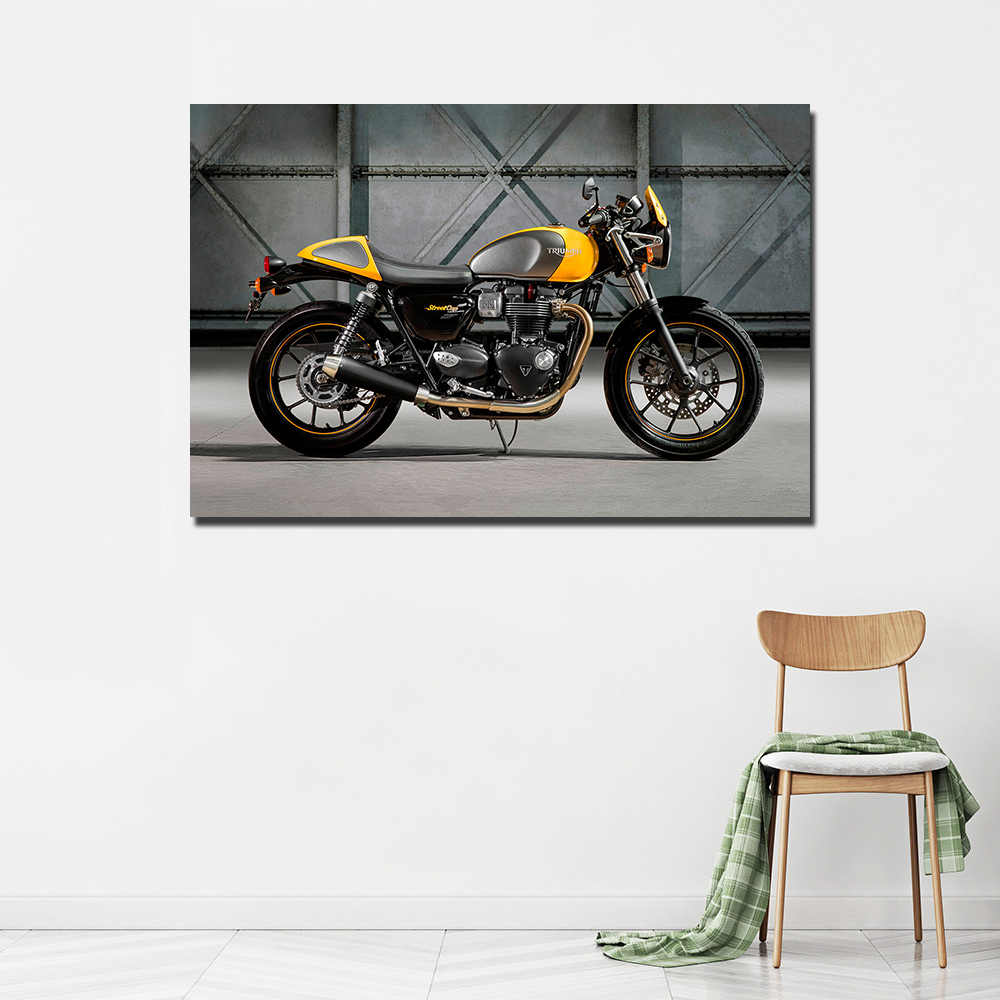 Triumph Street Cup Retro Motorbike Poster Wall Art Canvas Painting 24X36inch