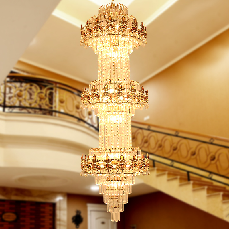 Lustre Stair Chandelier K9 Gold Crystal Chandelier Modern Led Chandeliers <font><b>Lighting</b></font> Hotel Villa Lobby Mall Aisle Engineering