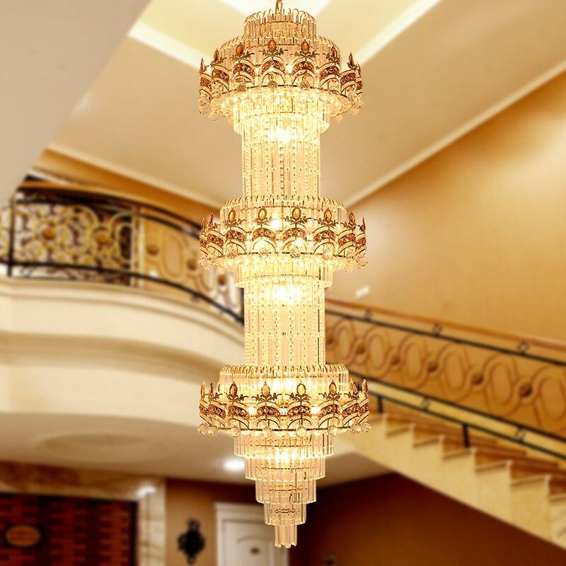 Lustre d'escalier Lustre K9 or cristal Lustre moderne Led lustres éclairage hôtel Villa hall centre commercial allée ingénierie