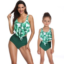 hot deal buy mother daughter swimsuit family matching outfits mommy and me clothes draped high waist bikini beach swimwear mom baby dresses