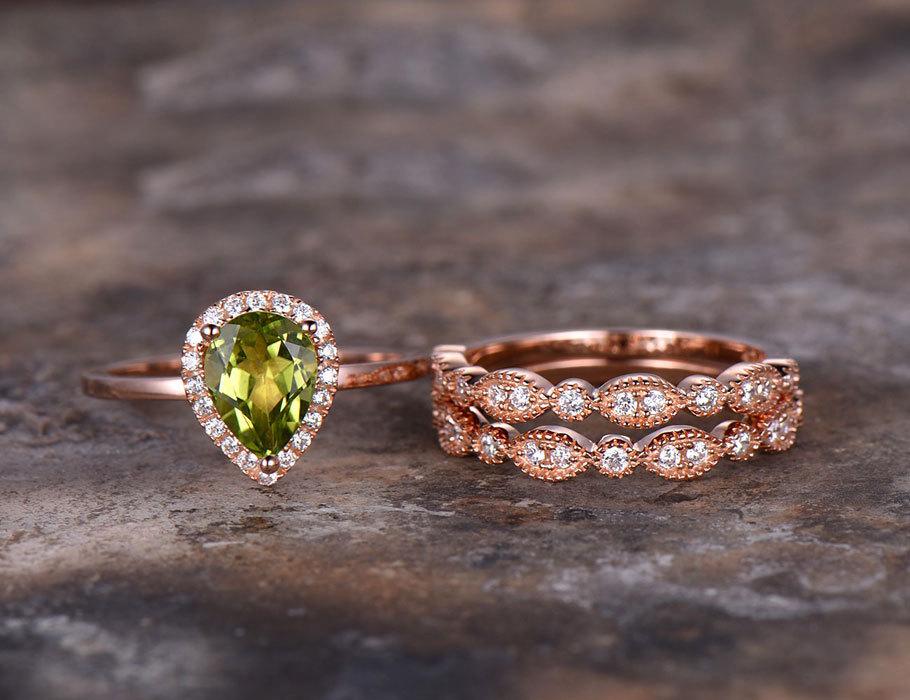 3 шт. груша Перидот обручальное кольцо зеленый драгоценный камень Обручение кольцо розового золота 925 серебро укладки свадебные кольца марк