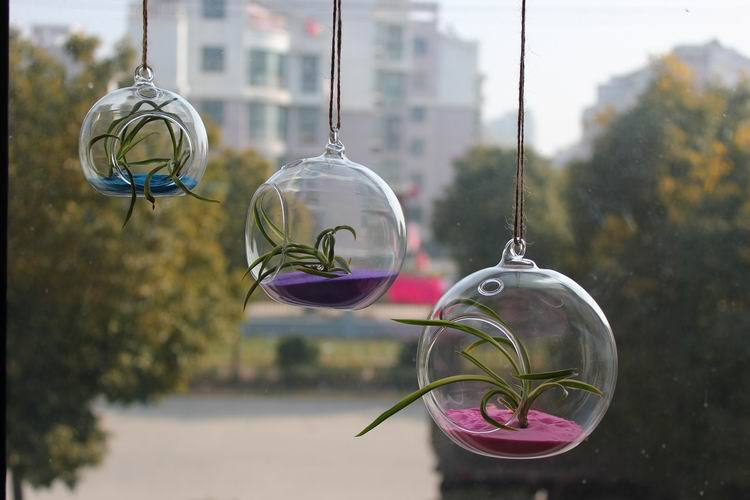 4dia8cm hanging glass vases ceiling drop ball artificial flower set home window wedding decorative freeshipping in vases from home garden on - Decorative Glass Vases