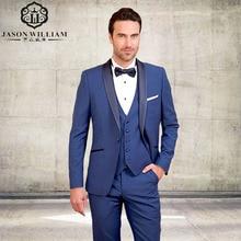 LN141 New 2018 Formal Custom Made Royal Bule Men Suit Set Grooms Tuxedo Wedding Suits For Men