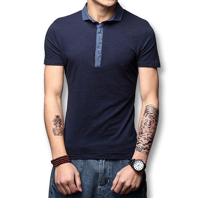 2017 nuevo polo hombres camisetas tops camiseta ocasional hombre hombres moda casual encaja delgado polo de manga corta de verano