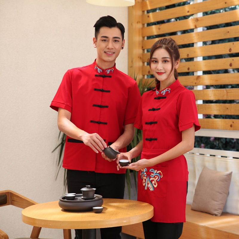 New Arrival Hotel Work Outfit Cafe Waiter Uniform For Men Coffee Shop Waitress Uniform Customized  Food Service Work Wear 90