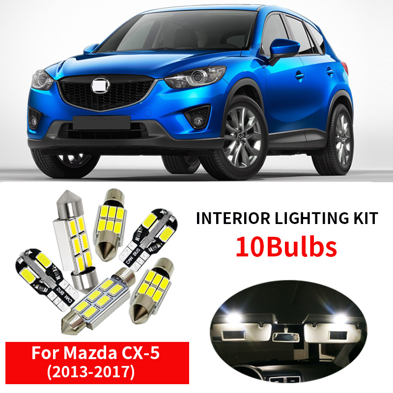 10pcs Auto Led bulb for 2013 2014 2015 2016 <font><b>2017</b></font> <font><b>Mazda</b></font> CX-5 <font><b>CX5</b></font> WHITE LED Interior Lights <font><b>Accessories</b></font> Replacement Package Kit image