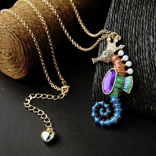 Women's Enamel Sea Horse Necklace 1