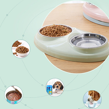 1PC Dog Double Feeder Drinking Bowls Stainless Steel Non-slip Pet Food Bowl Cat Supplies 29