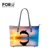 FORUDESIGNS Famous Designer Handbag Women,3D Animals Printing Handbags Women Handbag Leather Luxury Bag Girls Totes Bags Zipper