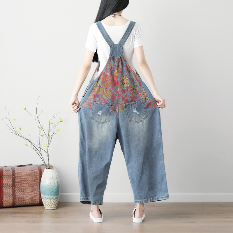 9e50d9af298 Women Vintage Printed Wide Leg Jumpsuits Ladies Scratched Washed Denim  Overalls Rompers Female Pattern Loose Denim Pants-in Jumpsuits from Women s  Clothing ...