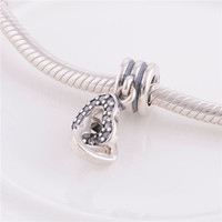 Fit European Bracelets Necklaces 925 Sterling Silver Heart To Heart Charm With Clear CZ Pendant Charms