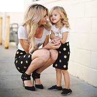 Enjoy Matching Mother Daughter Clothes Kids 2017 Letter Short Sleeves T Shirt Dot Skirts Family Look
