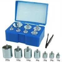 Peso da calibração conjunto 7 pçs/set 200g 100g 50g 20g 10g gramas de precisão balança de aço peso kit com pinças para balança