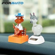 Car Ornaments Cute Dancing Shaking Head Dashboard Decoration Solar Powered Nodding Puppy Doll Car-styling Auto Accessories
