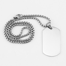 Нержавеющая Сталь Dogtag кулон ожерелье для мужчин пустой армии Ketting солдат Военная пластина воротник зеркальная полировка