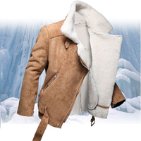 Fall Cheap Winter Lamb Shearling Mens Motorcycle Leather Thickening Jacket Suede Fake Lined Short Faux Fur