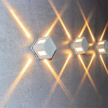 BEIAIDI 3 W açık hava led duvar lambası Su Geçirmez Duvar Aplikleri Çapraz Starlight KTV Bar Lambası Villa Park Dış Bina dekor ışık