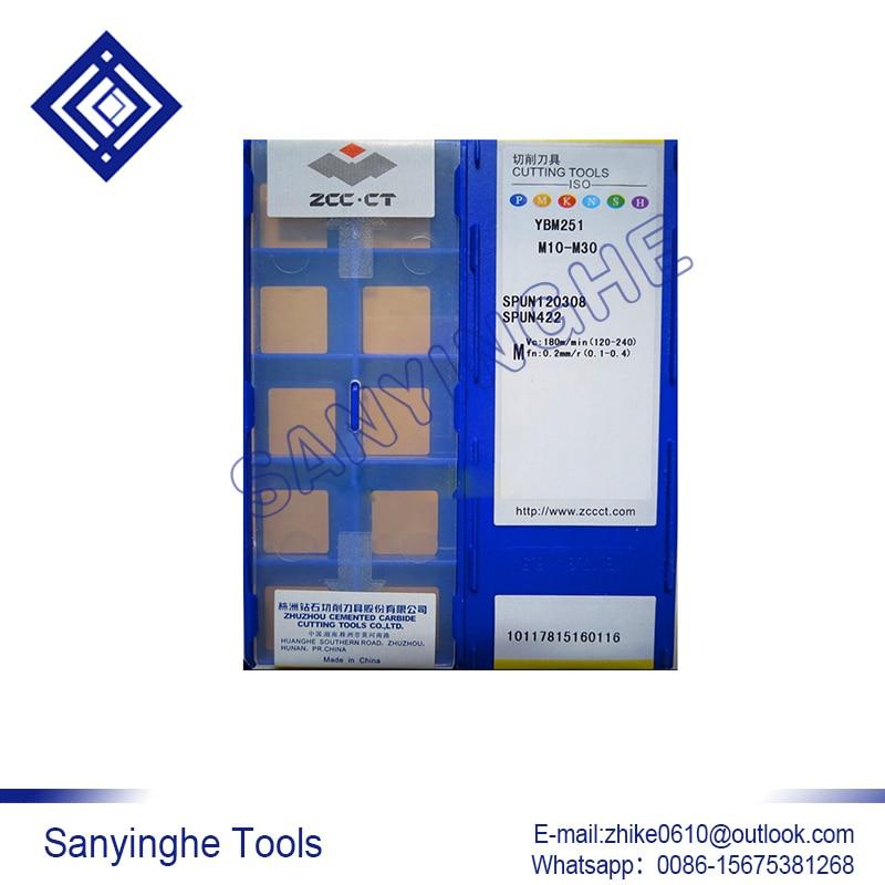 free shipping high quality 10pcs lots YBM251 SPUN120308 cnc carbide turning inserts