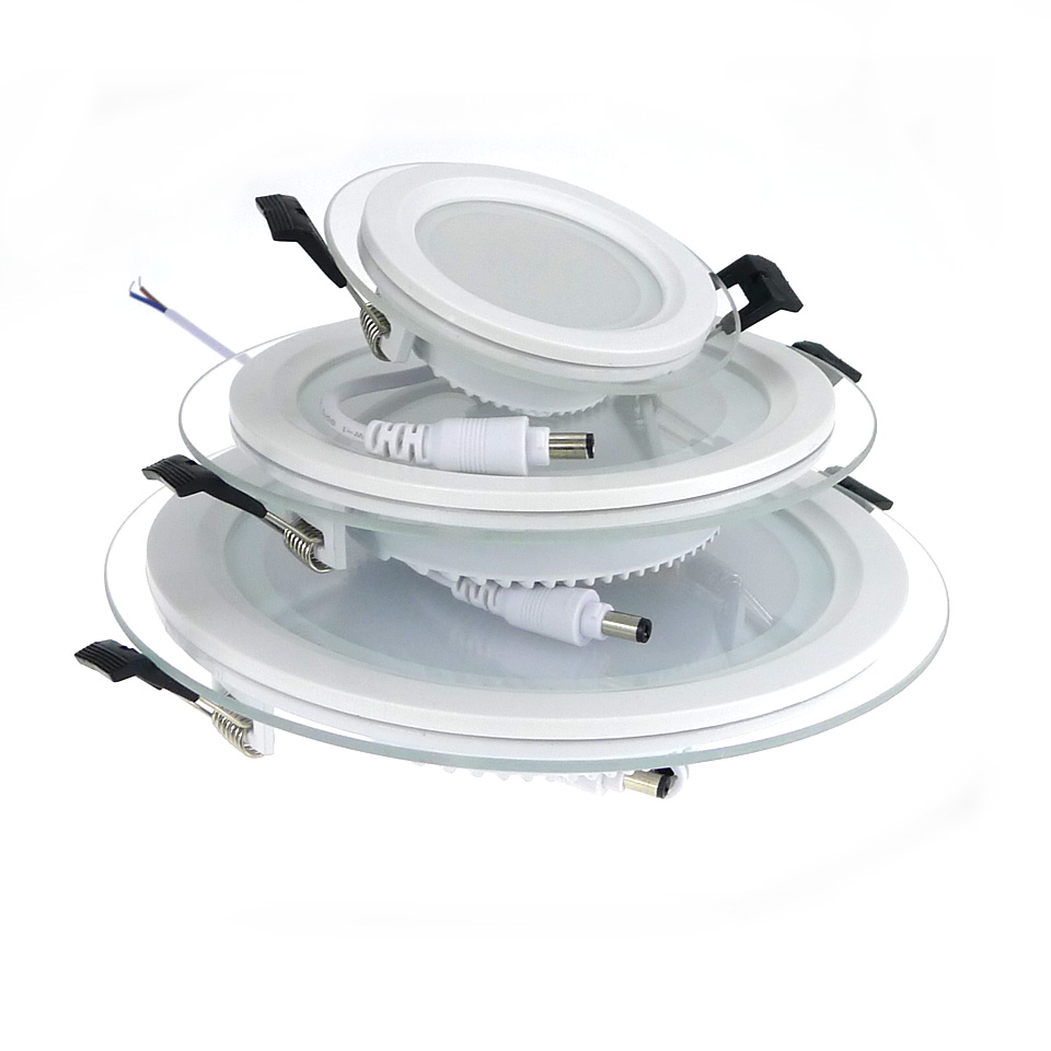 6W/12W/18W Dimmable Round Glass Ceiling Recessed Panel Downlight LED Spot Light Lamp AC85-265V led Ceiling lamp Indoor lighting