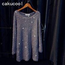 Cakucool Новый блестками вязаное платье Для женщин Длинные рукава Осень Vestidos украсить Повседневное искусственной норки Бисер Мини трикотажные Платья для женщин