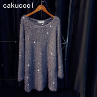 Cakucool New Sequined Knit Dress Women Long Sleeved Autumn Vestidos Embellish Casual Faux Mink Hair Beading Mini Knitted Dresses