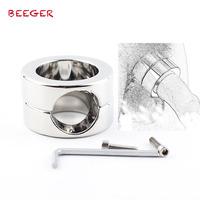 BEEGER 620g Weights The Stainless Steel Penis Trapper,Stainless Steel Ball Stretchers Cock Ring Locking Real Men CBT Sex Produc