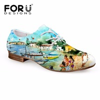 FORUDESIGNS Fashion Oxford Shoes Women 3D Painting Prints Women's Flats Oxfords Leather Shoes for Ladies Lace up Casual Shoes