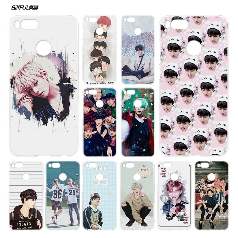 BiNFUL Bangtan Boys BTS Clear Cover Case Coque for Xiaomi Redmi Mi A1 5X Note 2 3 4X 4 5 4A 5A Plus