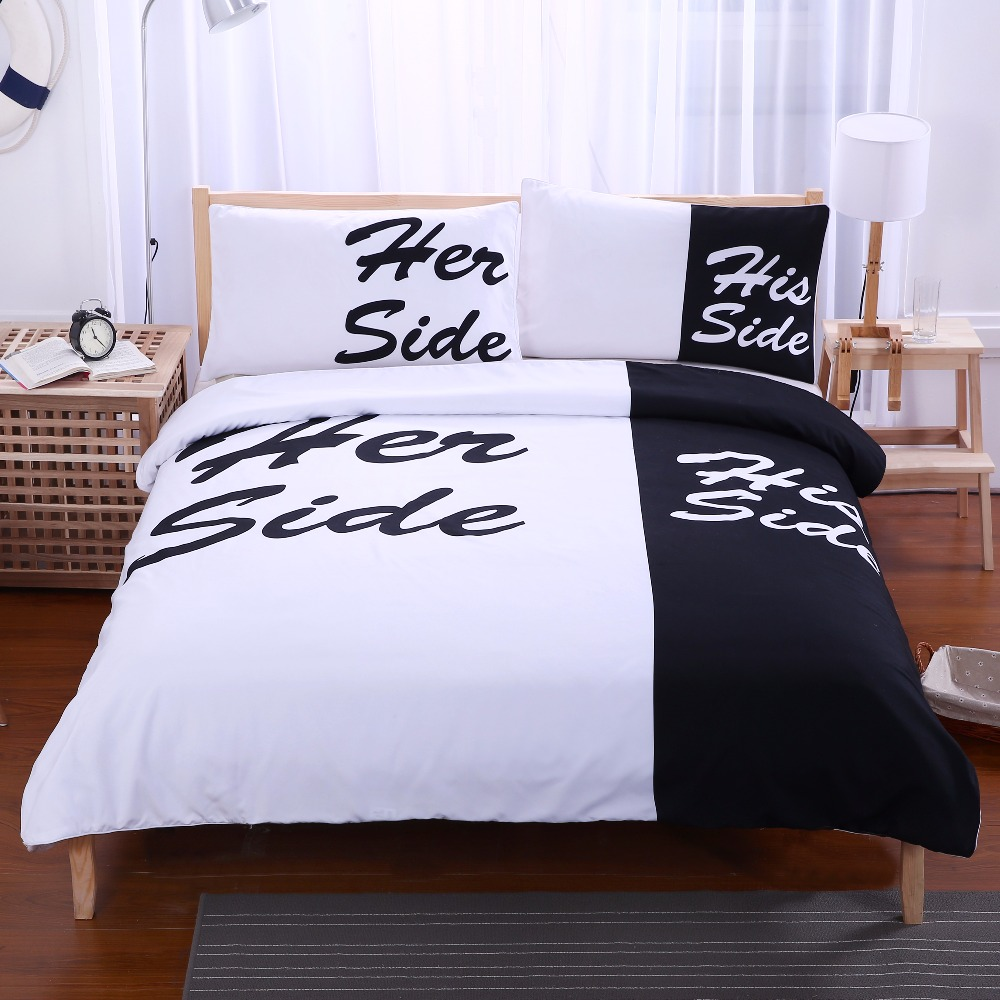 His Side Her Side Bedding Queen Size Black and White Bedding Set