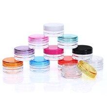1000 шт. 3 г разных цветов, маленькие пустые косметические многоразовые бутылки, пластиковая банка для теней для век, крема для лица, емкость, контейнер, бутылка