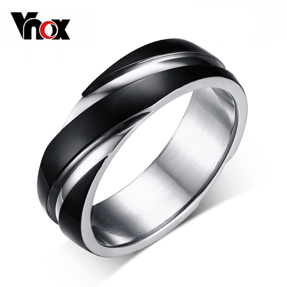 Vnox 3 color wedding ring for men / women 316 stainless steel ring black / gold-color