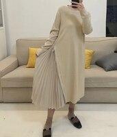 WKOUD EAM 2018 new autumn fashion woman round collar long sleeve Black stitching irregular pleated hem knit dress SC36401