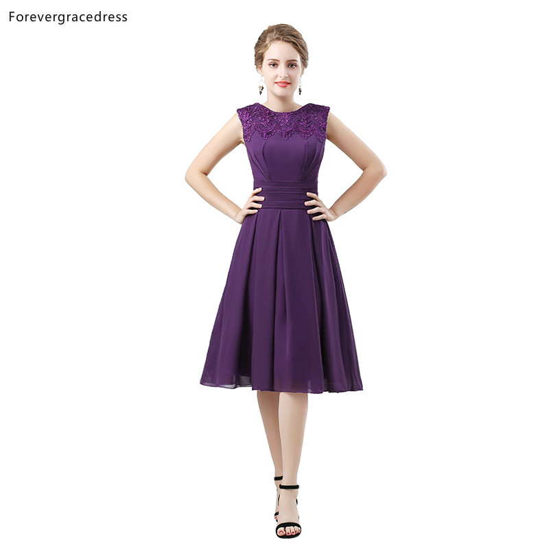 Forevergracedress Purple Bridesmaid Dresses A Line Chiffon Wedding Party Guest Maid Of Honor Gowns Plus Size Custom Made