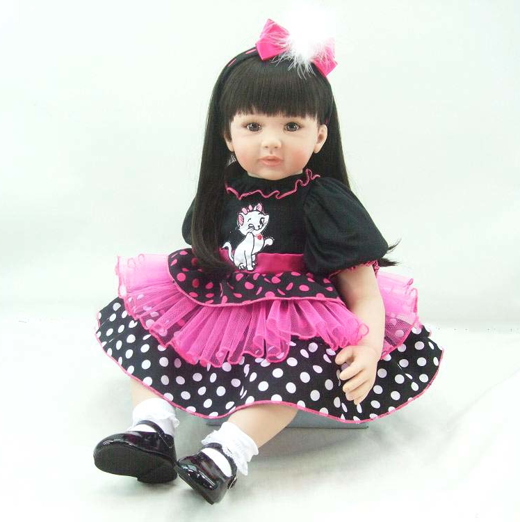 Pursue 24/60 cm Black Hair Brown Eyes Silicone Toddler Reborn Princess Baby Girl Doll Toys for Children with Cotton Body Doll pursue 22 56 cm big smile face reborn boy toddler baby doll cotton body vinyl silicone baby boy doll for children birthday gift