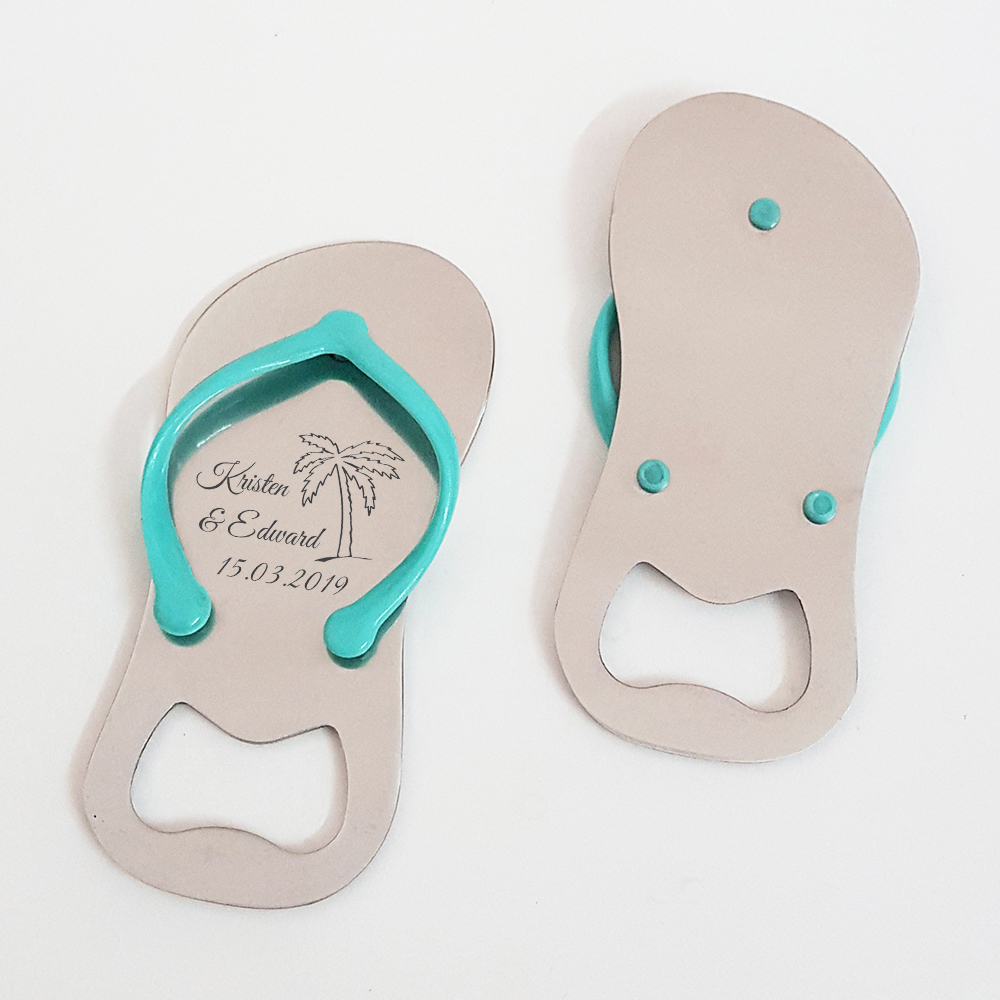 197567afe5a636 Personalized Wedding Anniversary Party Favor Flip Flop Jandal Shaped Beer  Bottle Opener Beach Themed Wedding Souvenir Gift 50pcs-in Party Favors from  Home ...