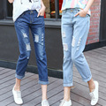 Denim Rasgado calças de Brim das mulheres Magro Ocasional Plus Size Solta Calça Jeans Distrressed Moda Bolso Mulheres Denim Calças para Estudantes