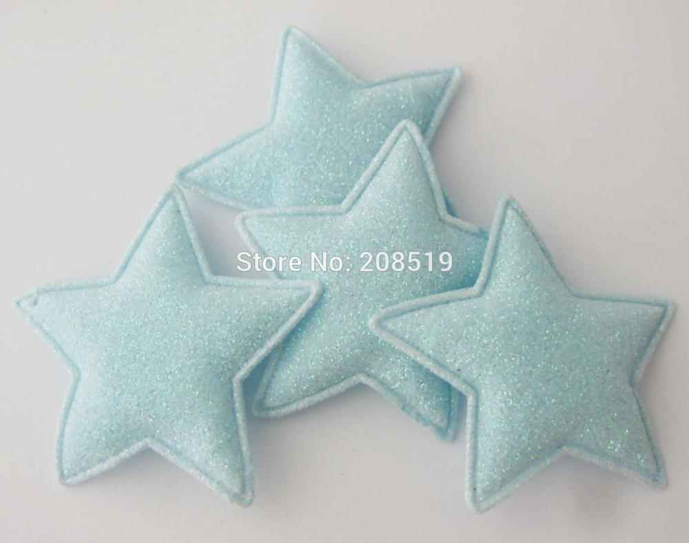 PANNGW микс 80 шт Блестящий фетровый тканевый аппликации около 45 мм звезда патч ручной работы декоративная заплатка для ювелирных изделий для волос - Цвет: only Blue color T
