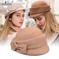 Wholesale Pure Wool Felt Fedora Hats Girl Banquet Fashion Headwear Women Party Formal Newsboy Caps Lady Bowknot Beret Caps