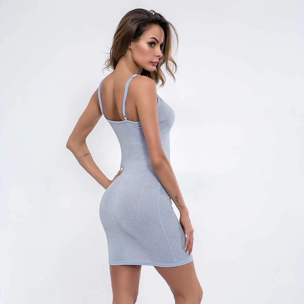 b128b28604a ... Women dress flash short sheath party dress sex street ins hot bodycon Slash  neck