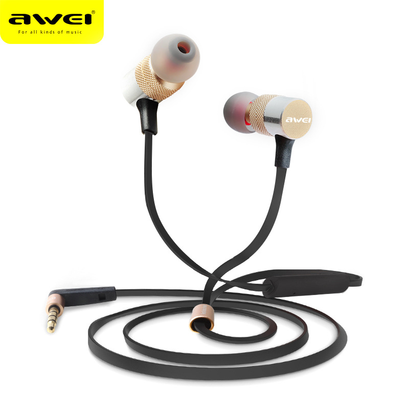 Awei Stereo Wired In Ear Headphone In-Ear Earphone For Phone iPhone Samsung Head Headset Earpiece Auriculares Kulakl K Sluchatka mini wireless in ear micro earpiece bluetooth earphone cordless headphone blutooth earbuds hands free headset for phone iphone 7