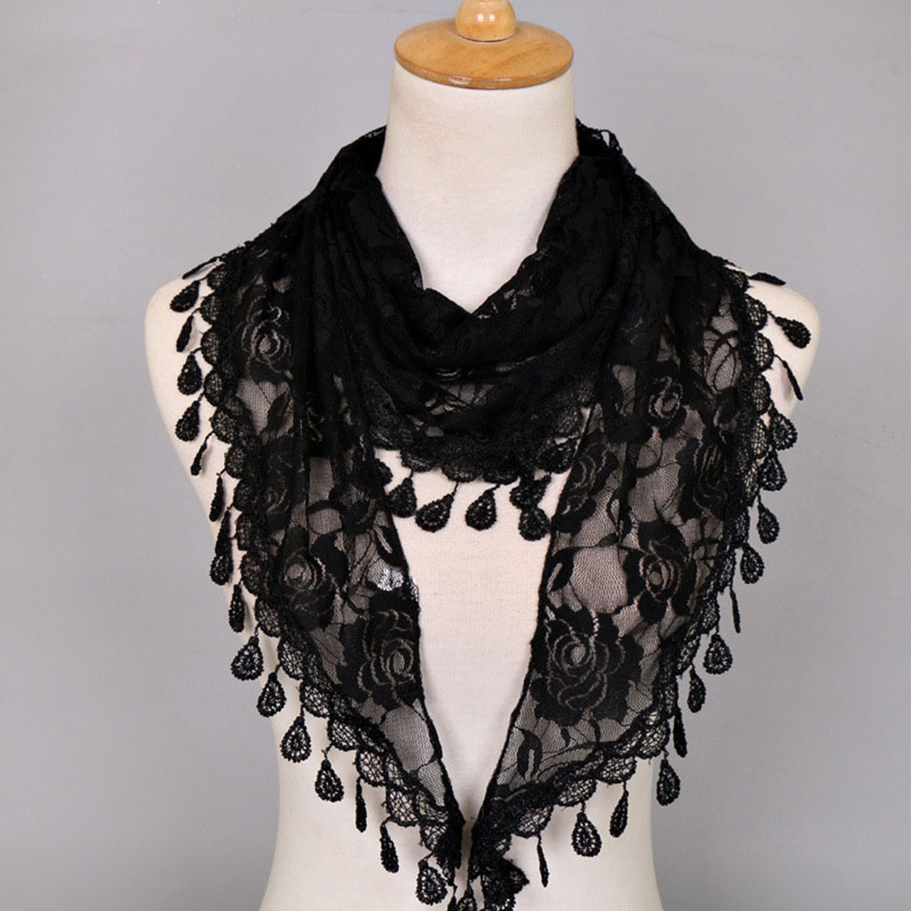 Apparel Accessories Fashion Female Triangle Lace Wraps Summer Collar Neck Scarves India Hollow Rose Floral Scarf