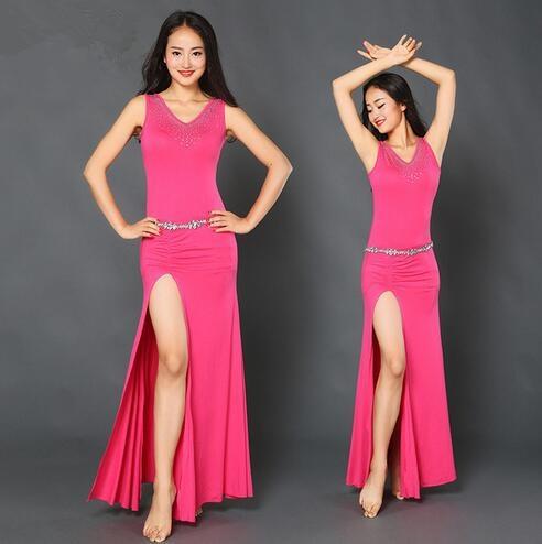 Traje de la danza del vientre mujeres de la promoción del algodón 2017 para  los trajes de danza oriental Mujer desgaste del funcionamiento del vestido  Zm053 ... 60b2151155c0