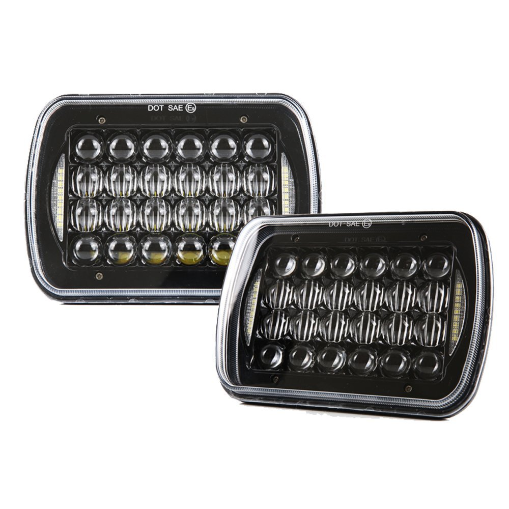 1 Pair Headlamp Replace H6054 H5054 H6054LL 69822 6052 6053 5X7 7X6 LED Headlight forJeep Wrangler YJ Cherokee XJ Truck 4x4 5 x7 6 x7 high low beam led headlights for jeep wrangler yj cherokee xj h6054 h5054 h6054ll 69822 6052 6053 with angel eye