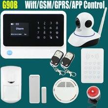 2016 2.4G WiFi GPRS GSM SMS de Wireless Home Seguridad Sistema de Alarma de Intrusión con HD 720 P Wifi Cámara IP Detector de humo